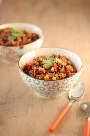 Recette Chili sin carne au quinoa, maïs et haricots noirs
