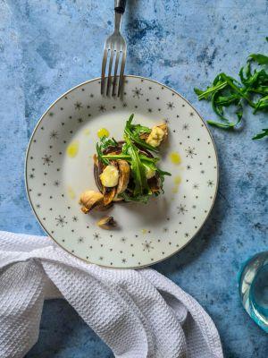 Recette Gratin aubergines, champignons et mozzarella
