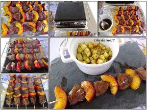 Recette Brochettes de canard/nectarine - marinade à l'huile d'olive, miel, sauce soja, thym, romarin