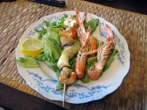 Recette Brochette  fruits de mer