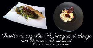 Recette Risotto de coquilles St-Jacques et chorizo aux légumes du moment