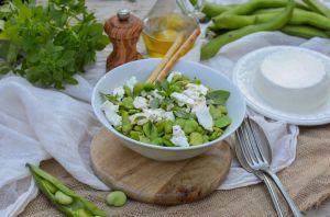 Recette Salade de fèves, brousse de chèvre et basilic