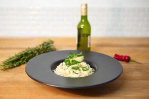 Recette Risotto d'asperges épicé au beurre noisette et oignons nouveaux glacés