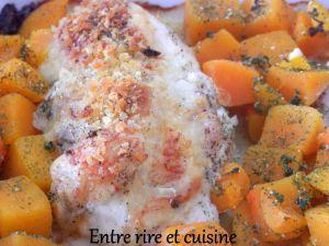 Recette Blancs de poulet farcis comté/poitrine fumée et dés de butternut