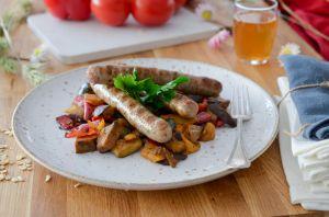 Recette Saucisses aux herbes et sa ratatouille de légumes grillés