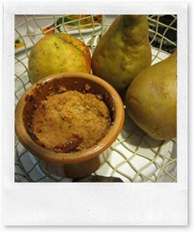 Recette Crumble pommes, poires et pépites de chocolat au quick chef