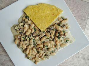 Recette Polenta sauce champignons et haricots blancs