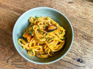 Recette Squash pasta – Linguine avec une sauce à la courge kabocha