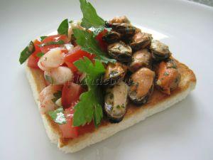 Recette Tartine façon tapas aux fruits de mer