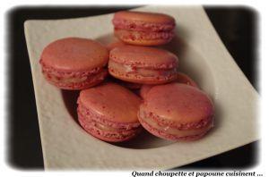 Recette Macarons roses, ganache chocolat blanc et framboises