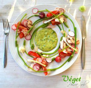 Recette Farandole de légumes crus, asperges sauvages et green mayonnaise