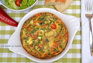 Recette Frittata à la feta, tomates cerise, olives et coeurs d'artichauts