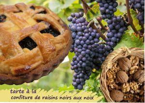 """Recette Tarte """"linz"""" aux raisins et aux noix (Cuisine juive, parve, Rosh Hashana)"""