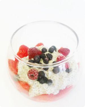 Recette Chia pudding au lait d'amande et fruits rouges