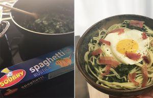 Recette Spaghettis aux épinards et œuf sur le plat | Une recette à moins d'1 €
