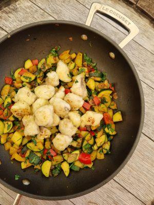 Recette Poêlée de lotte aux légumes d'été