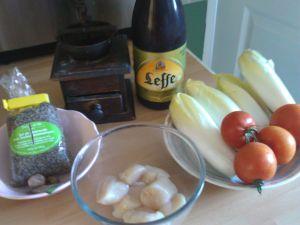 Recette Petit menu de Noël : coquilles St Jacques à la bière et aux endives