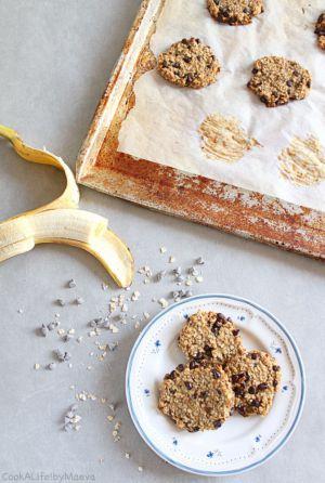 Recette Cookies banane, flocons d'avoine et pépites de chocolat, rapides et simplissimes !