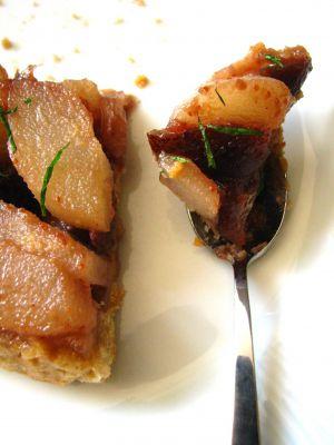 Recette Tatin de poires à la confiture de figues, noix et cognac de la chambre aux confitures