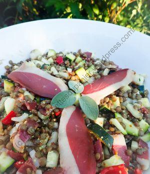 Recette Salade de courgettes, lentilles et magret de canard / Zucchini, Lentil and Duck Breast Salad