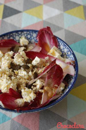 Recette Salade d'endives violettes à la féta et aux graines de Jacquie