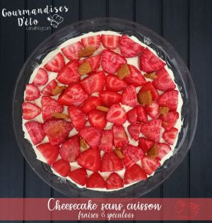 Recette Cheesecake sans cuisson, fraises & spéculoos