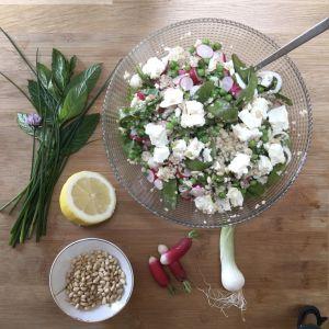 Recette Taboulé de boulghour aux légumes verts et radis, citron et féta
