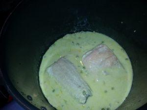Recette Saumon maïs et petits pois COOKEO