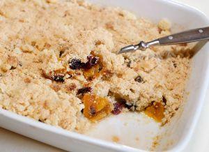 Recette Crumble pommes-poires-abricots moelleux et cranberries
