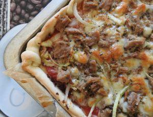 Recette Pizza au thon et a la moutarde (thermomix)
