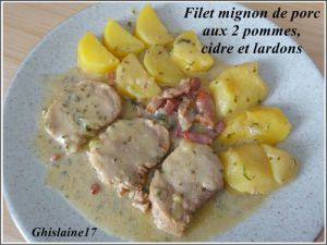 Recette Filet mignon de porc aux 2 pommes, cidre et lardons