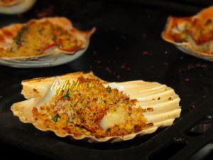 Recette Coquille St-Jacques gratinées au jambon cru