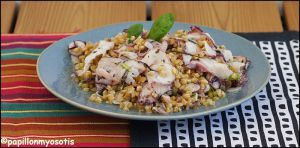 Recette Salade de petit epeautre au carpaccio de poulpe [#sabarot #madeinfrance #printemps #salade]