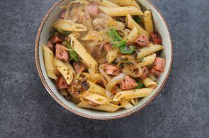Recette Penne saucisse de Montbéliard et petits légumes