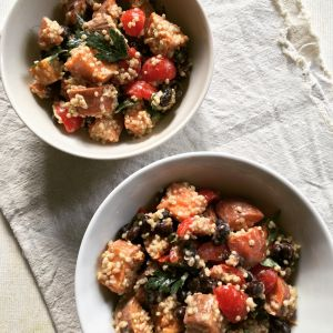 Recette Salade de patate douce, quinoa & haricots noirs