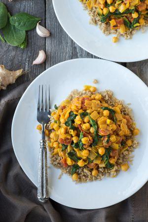 Recette Curry express de pois chiches, épinards, coco