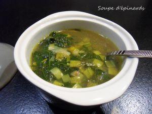Recette Soupe d' épinards