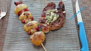 Recette Brochettes de pommes de terre et filet mignon fumé