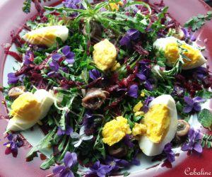 Recette Salade de carottes rouges râpées, pissenlits et violettes, ses œufs durs frais et ses anchois