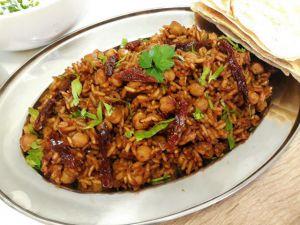 Recette Riz pilaf aux pois chiches et tomates séchées
