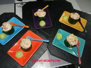 Recette Tronçons de concombre aux fruits de mer