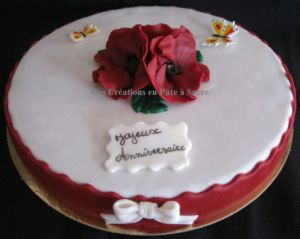 """Recette Gâteau """"Coquelicot"""" en Pâte à Sucre"""