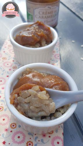 Recette Riz au lait d'amandes et crème de caramel à la fleur de sel