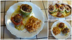 Recette Courgettes farcies sur lit de courgettes et de tomates