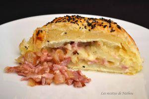 Recette Feuilleté au camembert, pommes de terre, lardons et oignons confits au balsamique