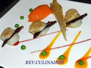 Recette Coquille st Jacques au magret,jus de mangue acidulé et croustillant de sésame-wasabi