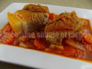 Recette Rouelle de porc aux champignons et ses petits légumes