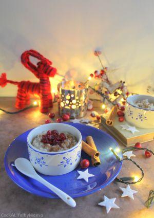 Recette { En attendant Noël } Riisipuuro, riz au lait à la cannelle finlandais et sa compotée de cranberries (option vegan)