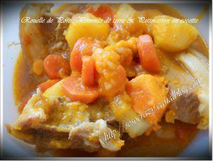 Recette Rouelle de porc, pommes de terre & potimarron en cocotte