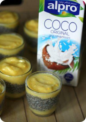 Recette Crème mangue, graines de chia et coco